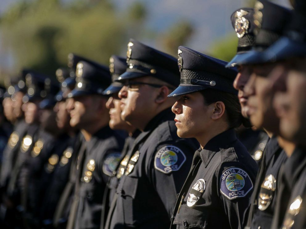PHOTO: Santa Ana police officers lined-up to get in for memorial services for Palm Springs police fallen Officers Lesley Zerebny and Jose Gil Vega takes place, Oct. 18, 2016, at Convention Center in Palm Springs.