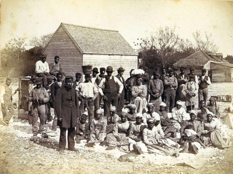 PHOTO: Slaves of Thomas F Drayton of Magnolia Plantation, Hilton Head, South Carolina, 1862 pose for a picture.