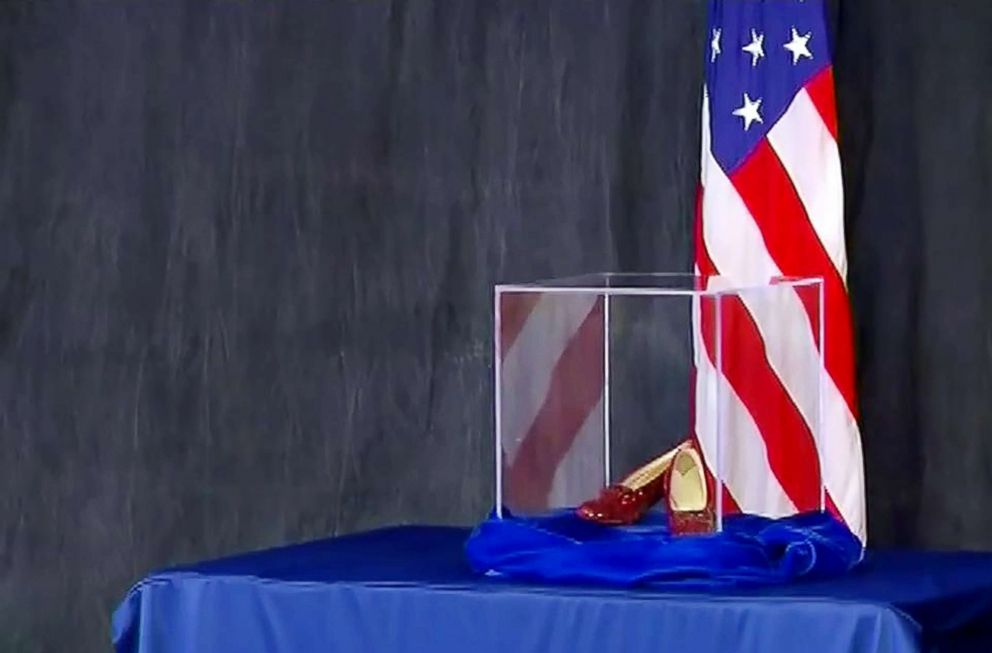 PHOTO: Officials in Minnesota display the recovered ruby slippers from Wizard of Oz, Sept. 04, 2018.