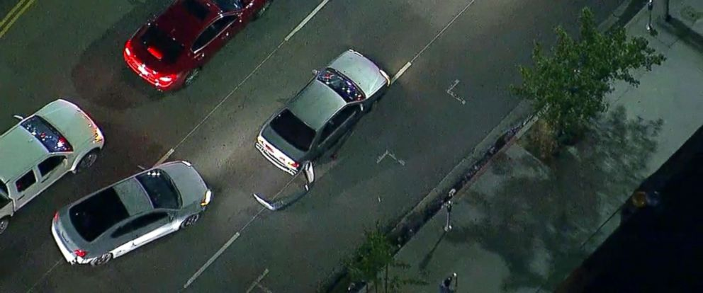 PHOTO: An image made from aerial video shows a slow-speed police chase in the Los Angeles area on May 31, 2018.