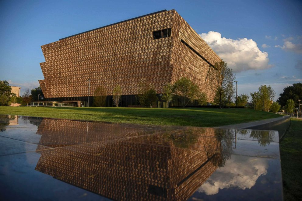 The National Museum of African American History and Culture, NMAAHC, July 6, 2016, prior to the September 2016 opening in Washington, D.C. The Corona is the signature feature of the building, consisting of 3,600 bronze-colored cast-aluminum panels.