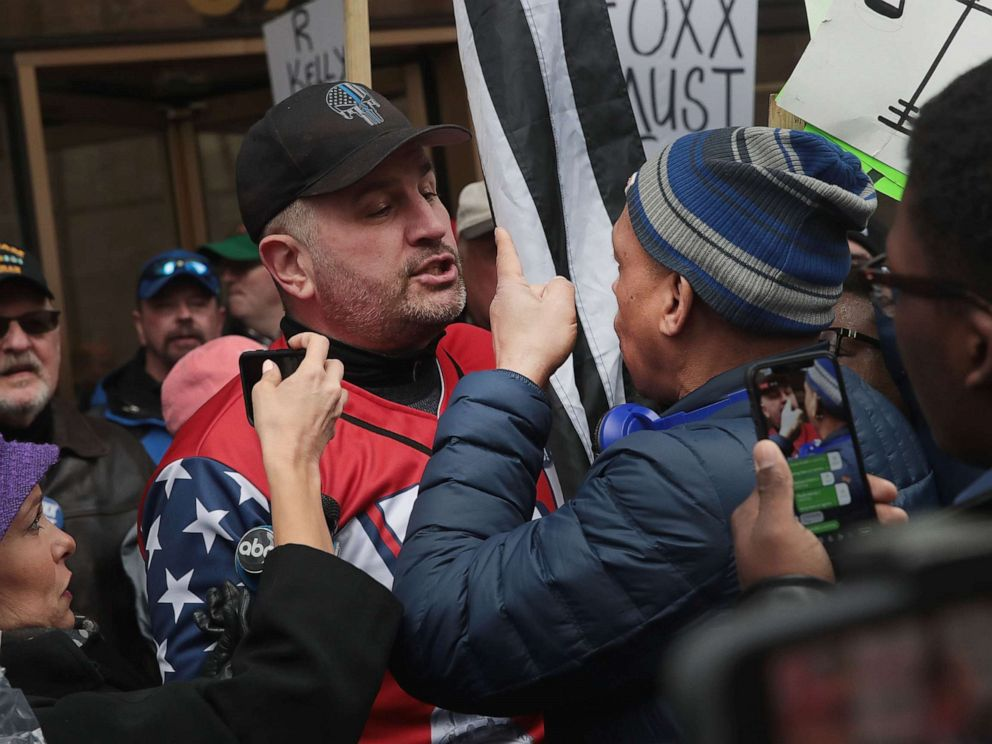 PHOTO: Opposing sides argue during a demonstration organized by the Fraternal Order of Police to call for Foxxs removal, April 01, 2019, in Chicago.