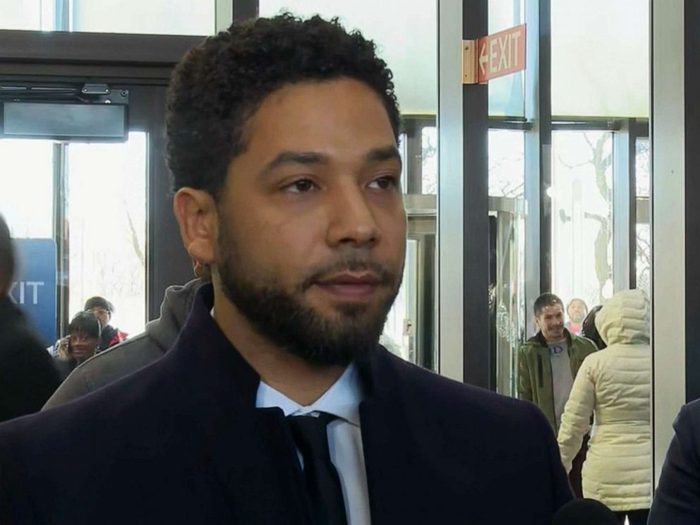 PHOTO: Actor Jussie Smollett speaks to the press after all charges were dropped against him in Chicago, March 26, 2019.