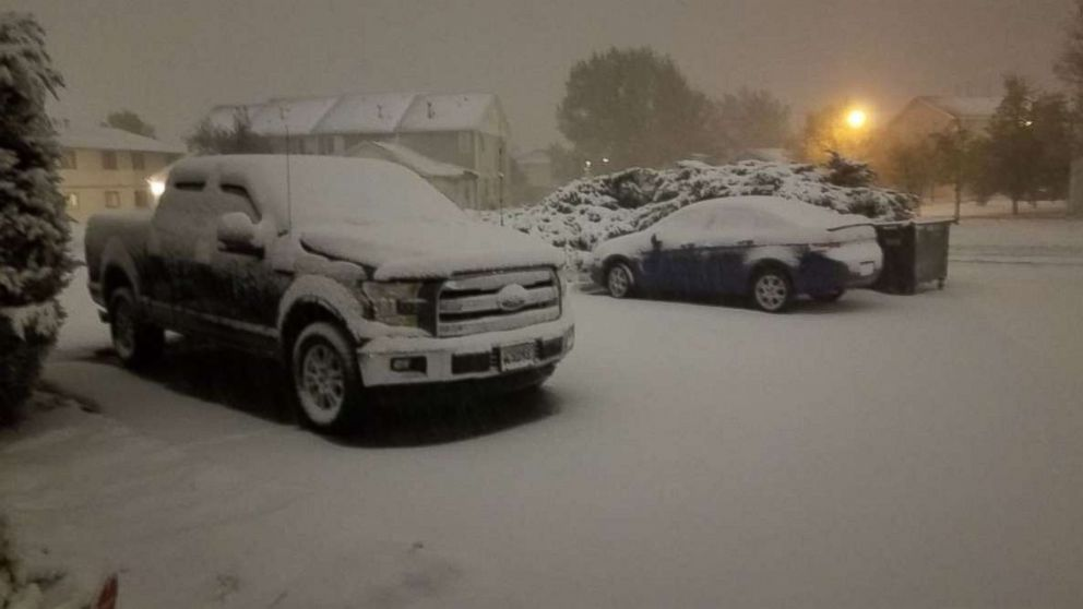 About 3 inches of snow had fallen in Cheyenne, Wyo., through Saturday night, Oct. 13, 2018.