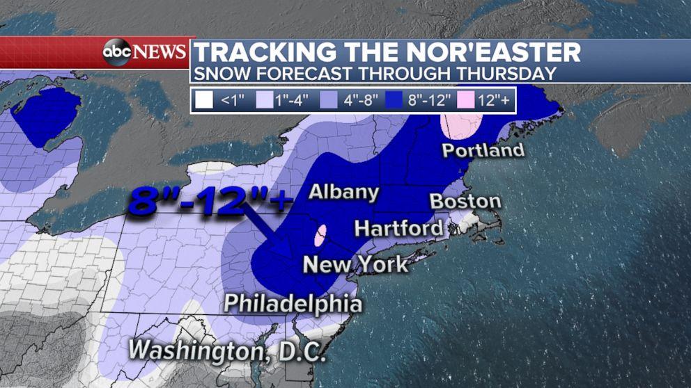 PHOTO: Snow forecast through Thursday.