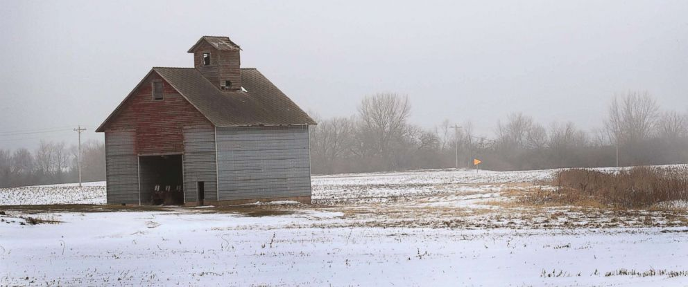 PHOTO: Snow covers a farm field, Jan. 17, 2019 near Ottawa, Ill.