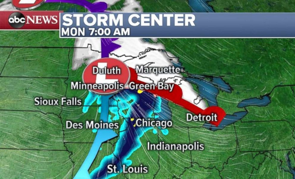 PHOTO: A quick-moving storm could dump some snow on the Midwest Monday and the Northeast on Tuesday.