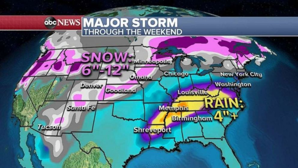PHOTO: Over 4 inches of rain is possible from Shreveport, La., to Memphis, Tenn., while as much as a foot of snow is possible in the mountains of the Northwest.