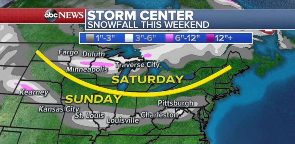 The heaviest snow from the first storm will take care of within the northern U.S.