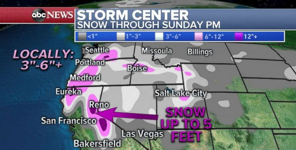 PHOTO: Seattle and Portland could see rare snow totals through the weekend.