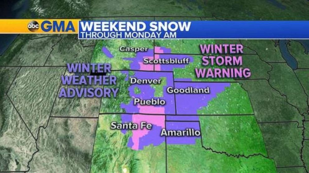 Winter weather advisories and winter storm warnings are in place for eight states on Sunday.