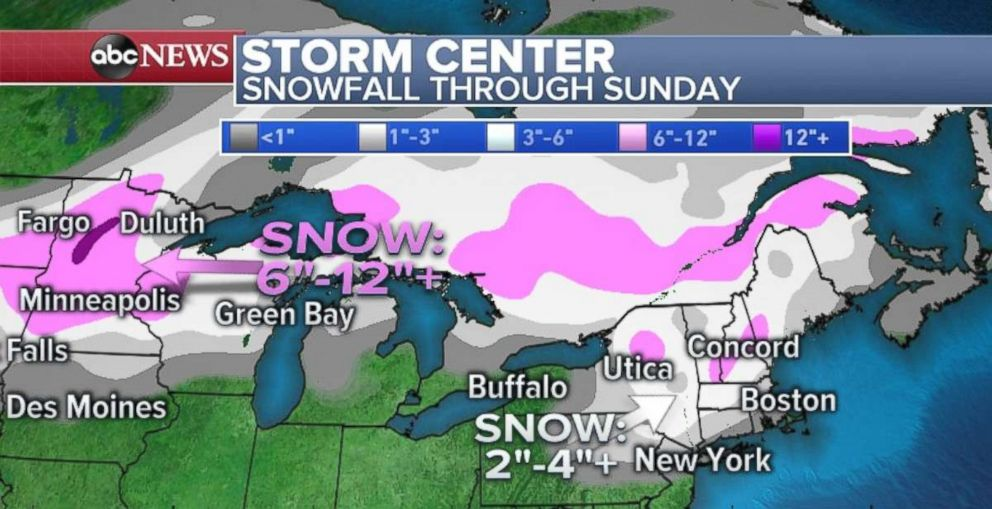 PHOTO: Snowfall will be heaviest in Minnesota, with a few inches also possible in northern New York and New England.