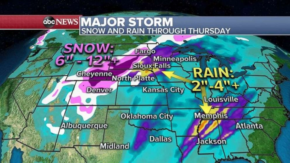 PHOTO: Rain of 2 to 4 inches is possible in the Plains and Tennessee River Valley, while northern Colorado could see 6 to 12 inches of snow.