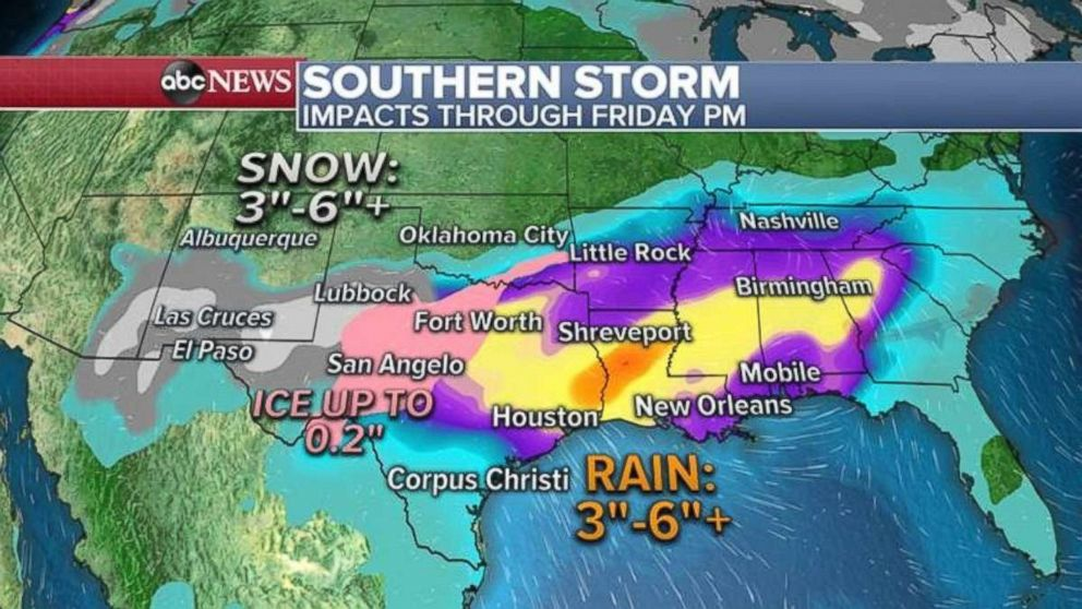 PHOTO: A few inches of snow are possible in western Texas and New Mexico, while 3 to 6 inches is possible across parts of the Gulf Coast through Friday night.