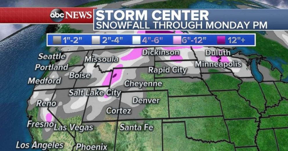 Heavy snow will fall in the northern Rockies and over to the Twin Cities through Monday.