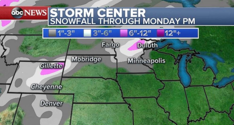 Snow is possible in the Twin Cities and Wyoming on Monday.