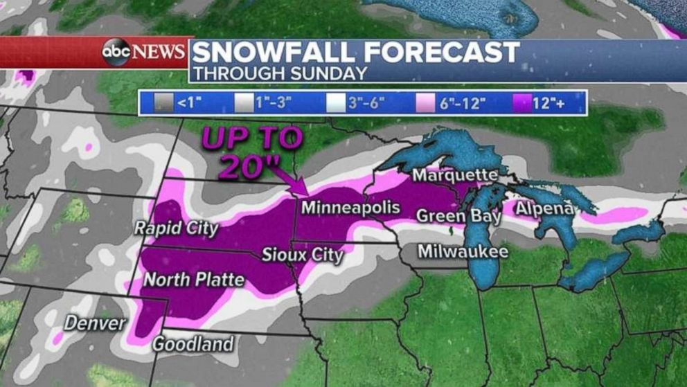 Snowfall totals will be heavy across much of Nebraska, South Dakota, Minnesota and Wisconsin.