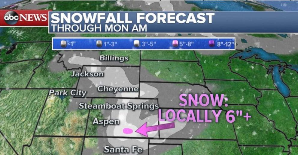 PHOTO: As much as 6 inches of snow could fall locally in part of Colorado through the weekend.
