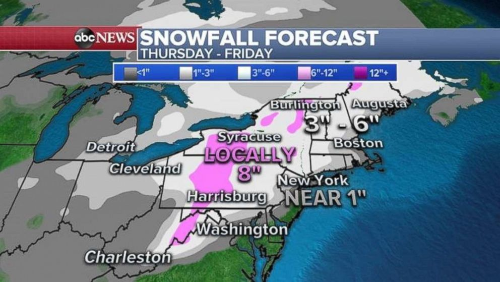 PHOTO: The heaviest snow will fall in central Pennsylvania, western New York and northern New England.