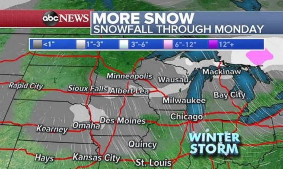 A few more inches of snow are possible across the Plains and in the Great Lakes on Sunday.