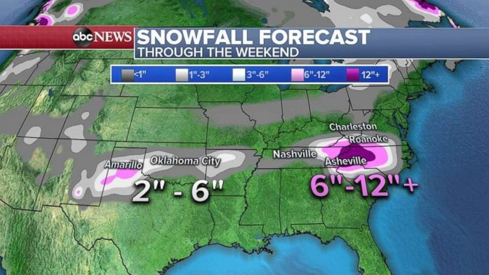 Snowfall totals will be highest in the Carolinas, especially in the Appalachian Mountains.