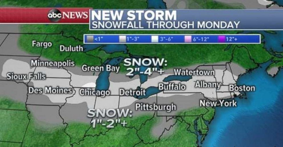 Accumulation totals will generally be light through Monday, with more in southern Wisconsin, Michigan and upstate New York.