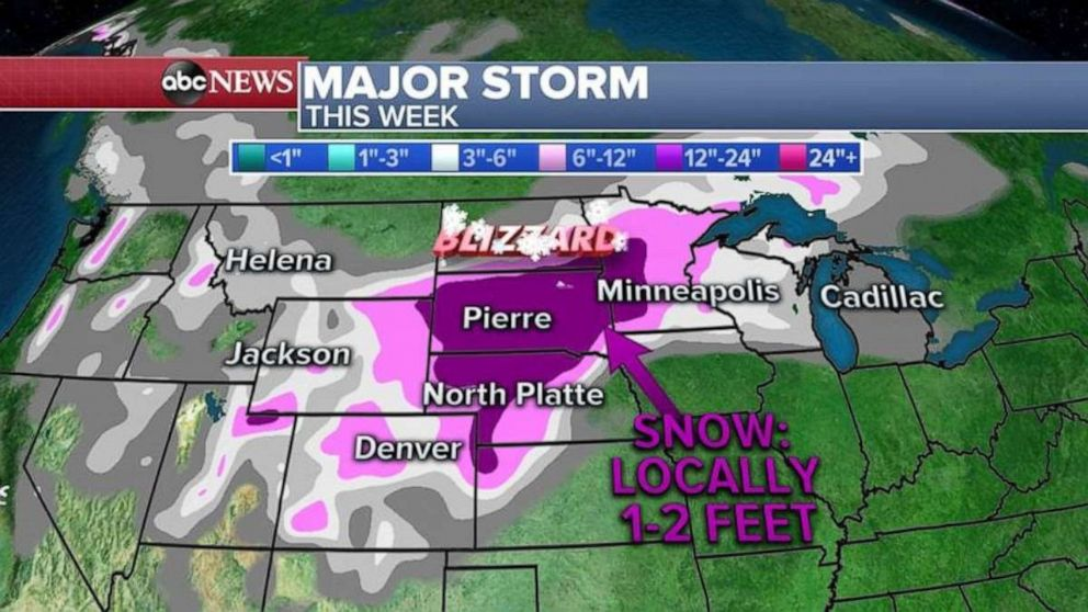 PHOTO: Snowfall totals will be heaviest throughout South Dakota, northern Nebraska and western Minnesota.