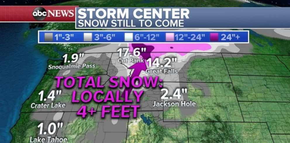 PHOTO: Snowfall totals of close to 20 inches are still in the forecast for parts of northern Montana.