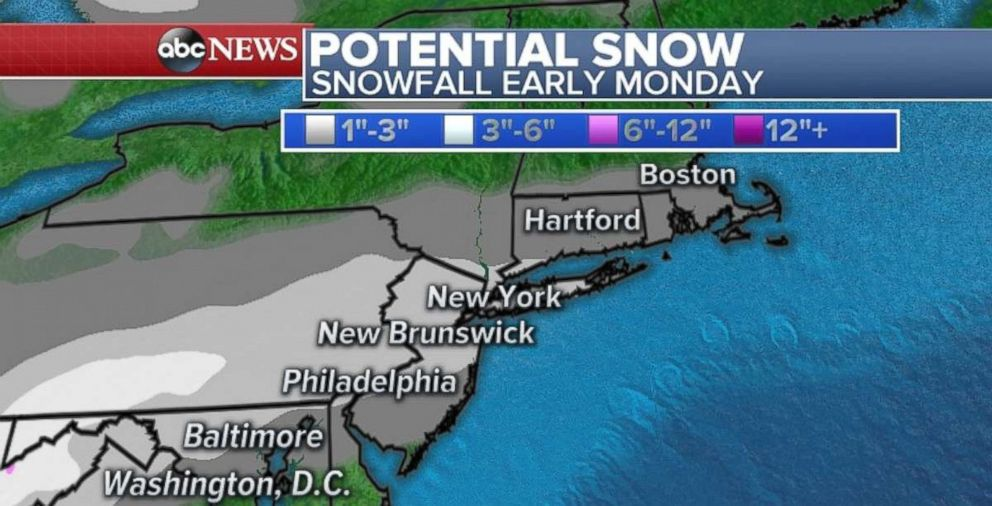 Snowfall totals will be light, but the timing of the storm could cause travel problems across the Northeast on Monday morning.