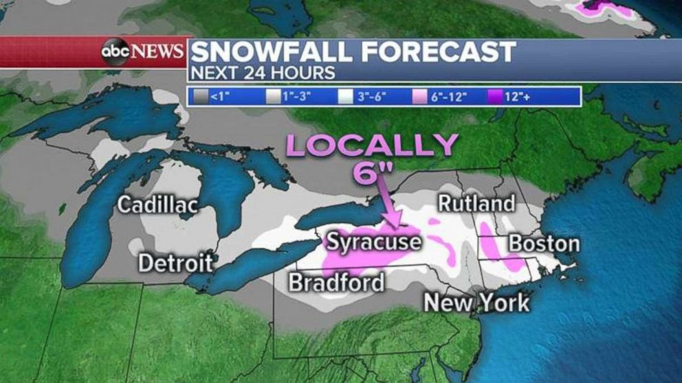 PHOTO: The heaviest snow will fall in western New York, northern Pennsylvania, and into parts of southern New England.