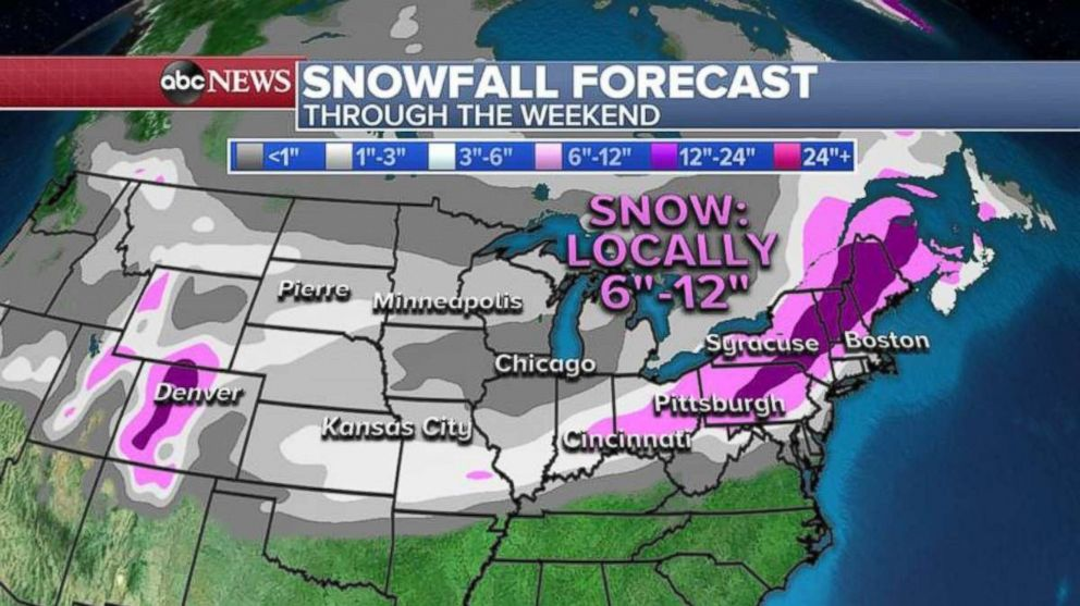 PHOTO: A snowstorm is heading to the Northeast, with heaviest snow expected to fall on Sunday into Monday.