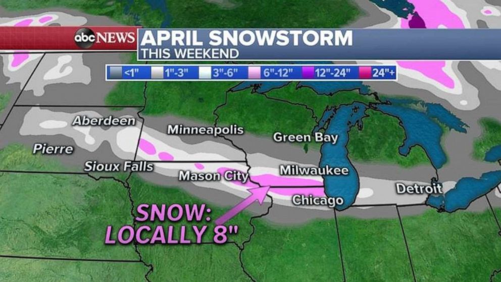 PHOTO: A spring snowstorm could deliver about 8 inches to parts west of Chicago this weekend.