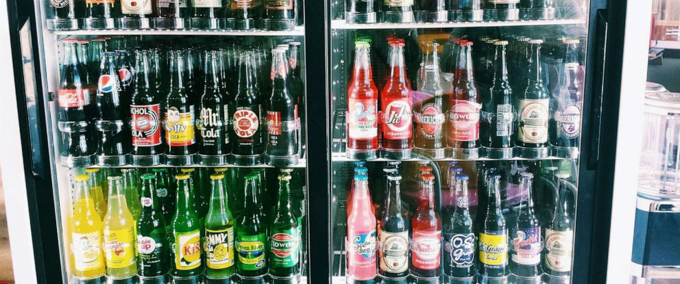 PHOTO: Sodas in a store refrigerator.