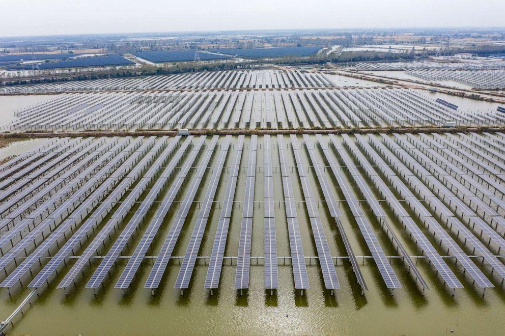 PHOTO: Photovoltaic solar panels in Sheyanghu Township of Baoying County, east China's Jiangsu Province, Nov. 5, 2020.