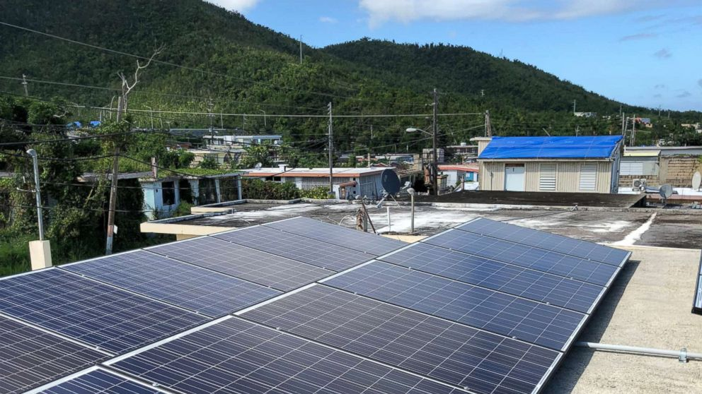 Solar panels atop a community organization building in Daguao, Puerto Rico.