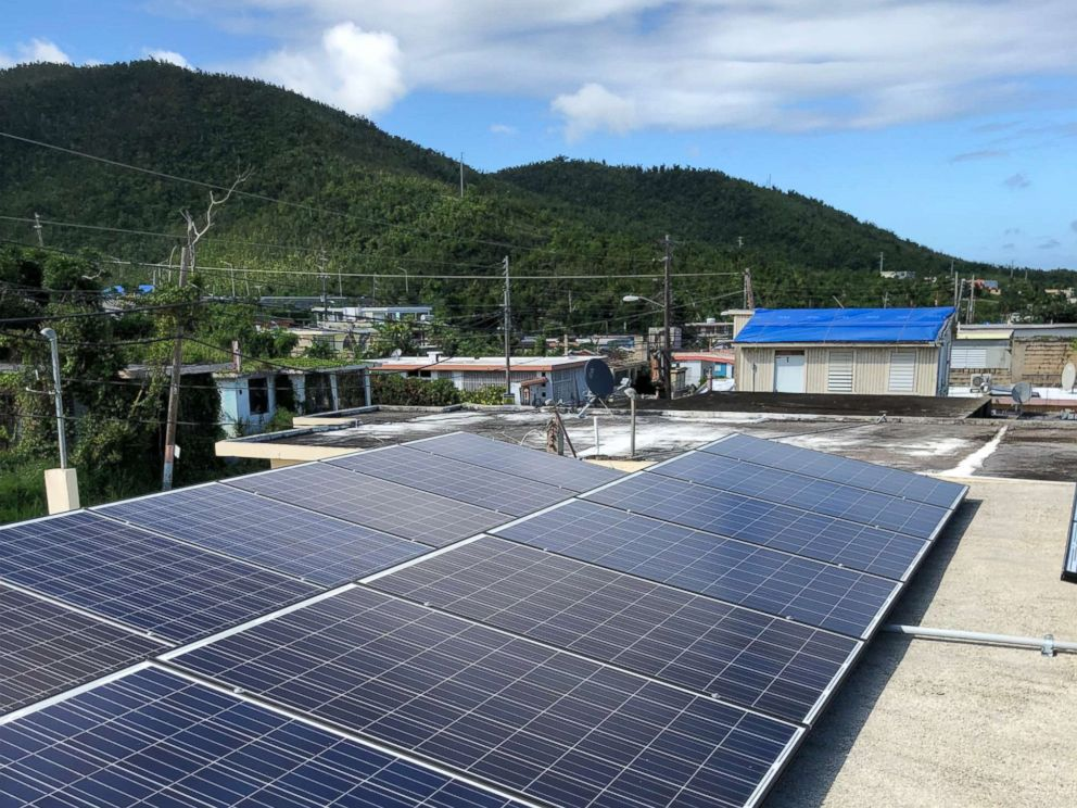 Solar panels atop a community organization building in Daguao, Puerto Rico. how being prepared for hurricane season starts with solar power in one puerto rico town How being prepared for hurricane season starts with solar power in one Puerto Rico town solar panels pr abc mo 20180530 hpMain 4x3 992