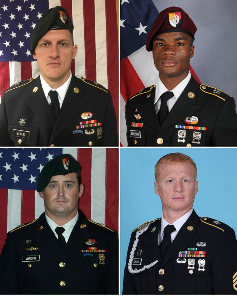 PHOTO: U.S. soldiers killed during an ambush in Niger on Oct. 4, 2017. Clockwise from top left, Army Staff Sgt. Bryan C. Black, Sergeant La David Johnson, Staff Sgt. Jeremiah W. Johnson, and Staff Sgt. Dustin M. Wright, 29.
