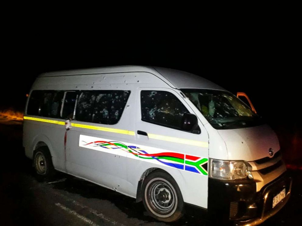 PHOTO: A minibus with bullet holes on its side is seen on the road between Weenen and Colenso, in KwaZulu Natal province, South Africa, July 22, 2018.