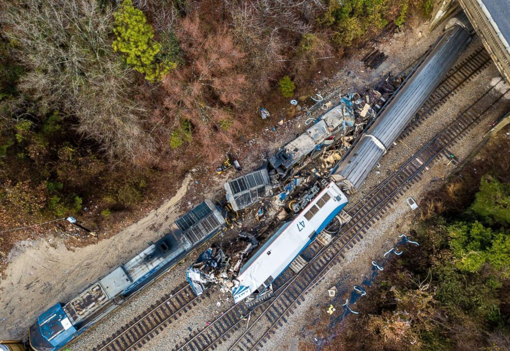 PHOTO: An aerial view of the site of an early morning train crash, Feb. 4, 2018 between an Amtrak train, bottom right, and a CSX freight train, top left, in Cayce, S.C.