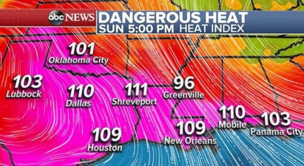 Temperatures will be over 100 degrees in much of Louisiana and Texas.