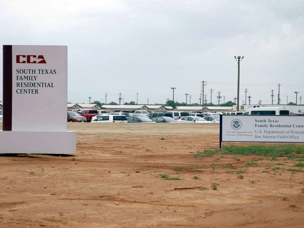 PHOTO: Signs are seen at the entrance to the South Texas Family Residential Center, June 30, 2015, in Dilley, Texas.