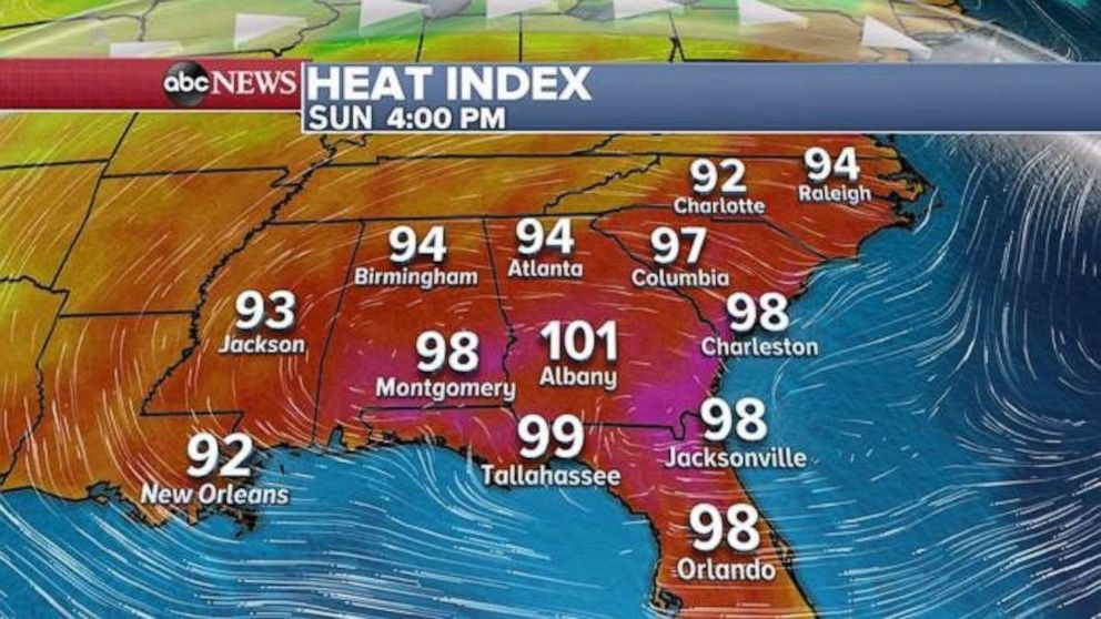 PHOTO: The heat index in the Southeast will approach, or even reach, triple digits in some places.