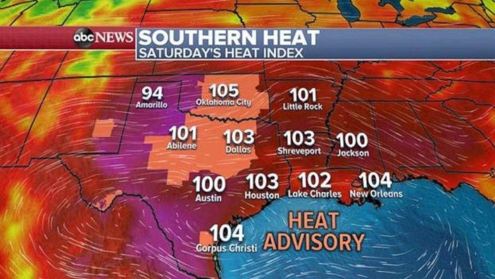 PHOTO: The heat index will cross 100 degrees across Texas, Oklahoma, Arkansas and Louisiana on Saturday.