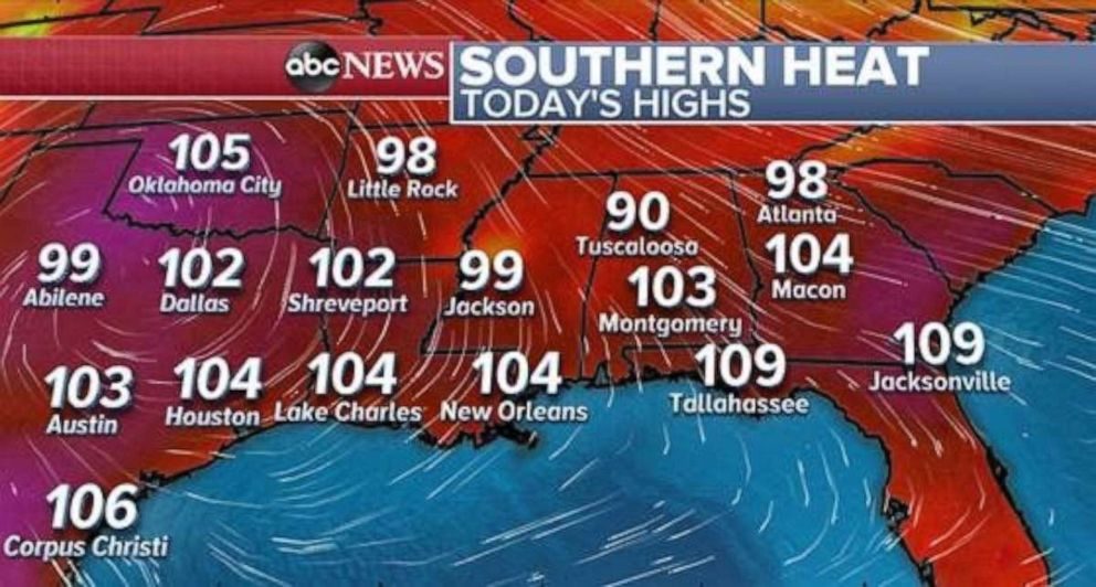 PHOTO: The heat index could be as high as 109 degrees in parts of northern Florida on Saturday.