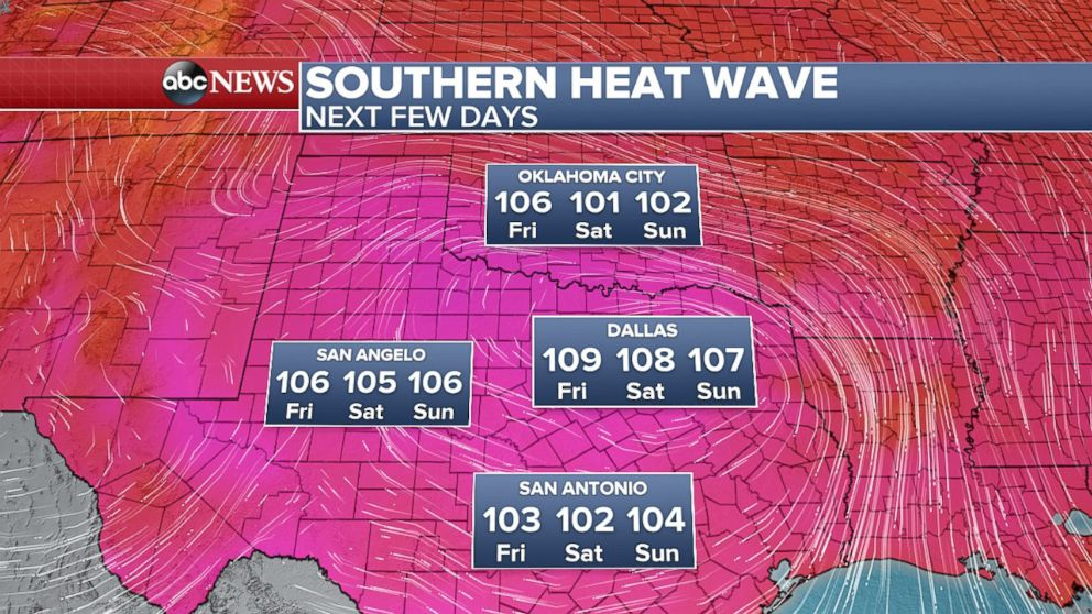 PHOTO: Daily record high temperatures are expected in Texas Friday, Saturday, and Sunday.