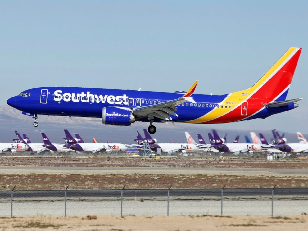 PHOTO: In this March 23, 2019 file photo a Southwest Airlines Boeing 737 Max aircraft lands at the Southern California Logistics Airport in the high desert town of Victorville, Calif.