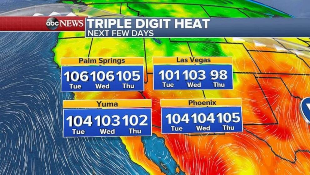 Excessive heat watches have been issued for parts of Southern California and Arizona.