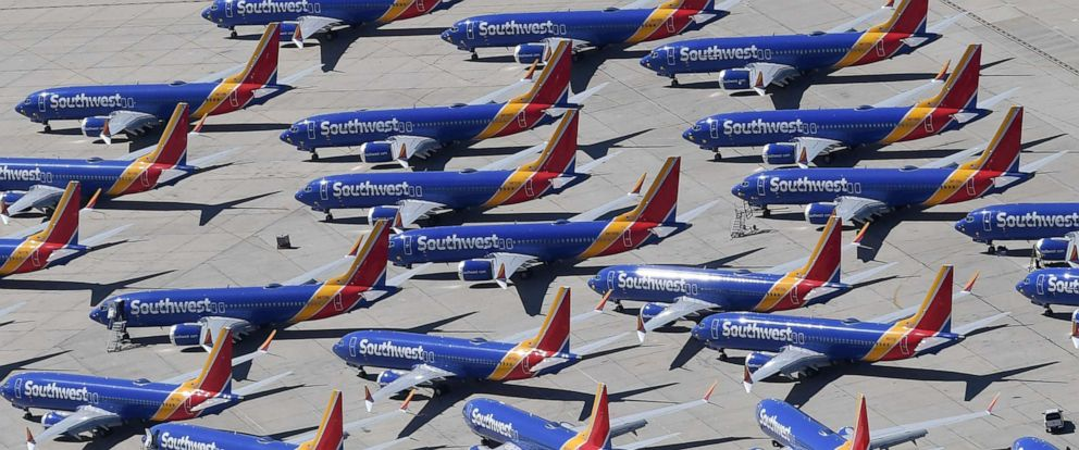 PHOTO: In this file photo taken on March 28, 2019, Southwest Airlines Boeing 737 MAX aircraft are parked on the tarmac after being grounded, at the Southern California Logistics Airport in Victorville, Calif.