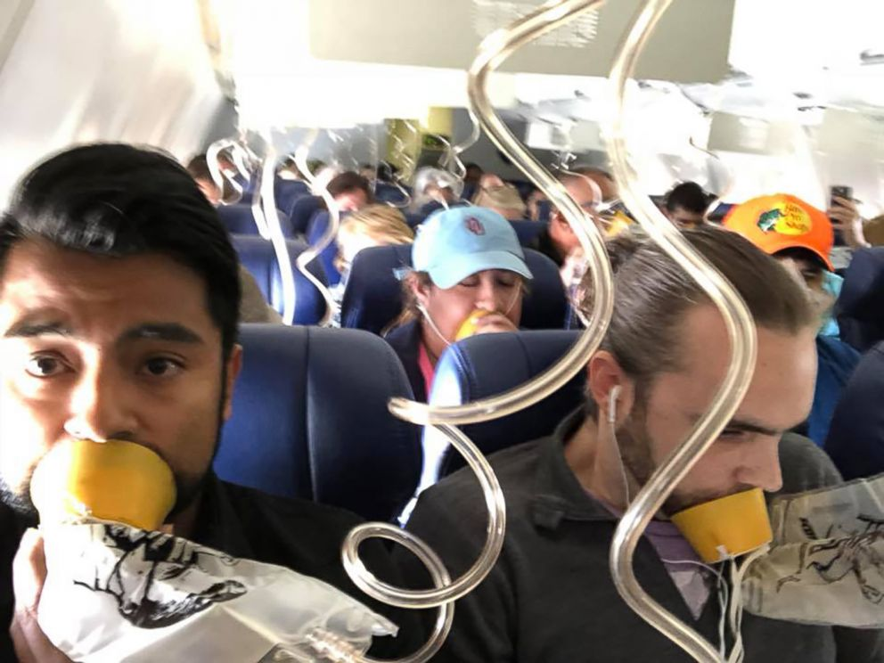 PHOTO: Passengers aboard a Southwest Airlines flight that made an emergency landing at the Philadelphia airport, April 17, 2018.