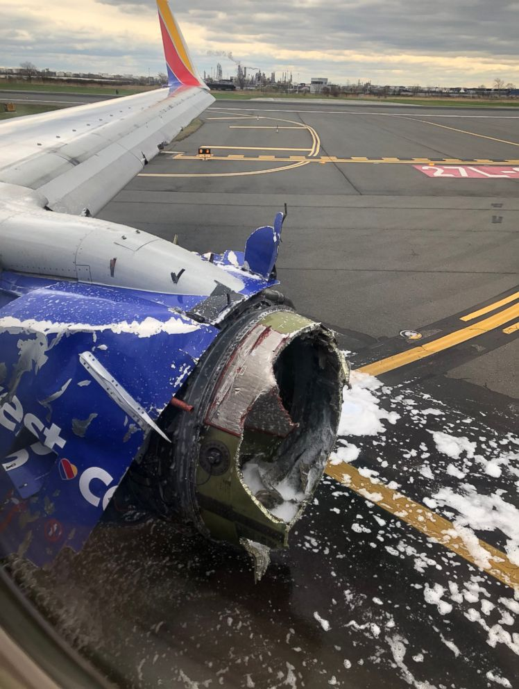 PHOTO: The engine of a Southwest Airlines plane after an emergency landing at the Philadelphia airport, April 17, 2018.